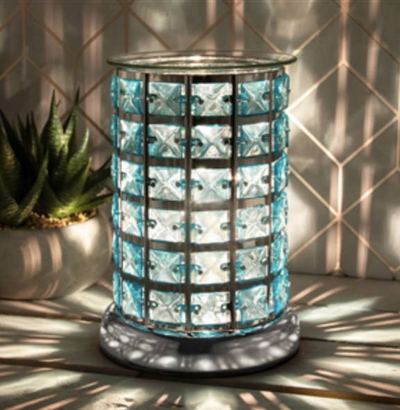 Stunning Silver & Teal Jewelled Touch Sensitive Electric Warmer 1