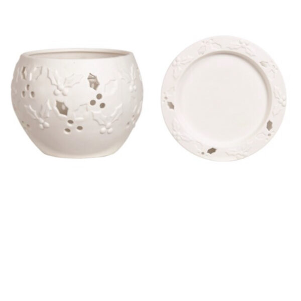 Holly T-Light Warmer & Plate Set 1