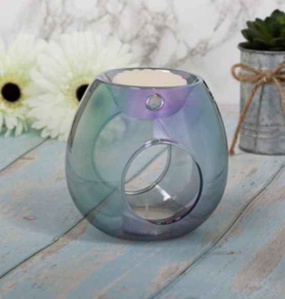Blue Glass T-Light Warmer 1