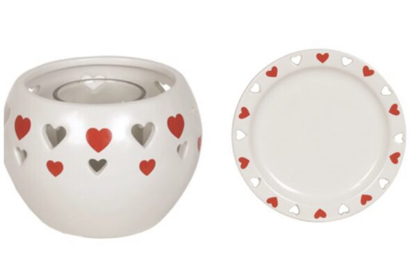 Heart T-Light Holder & Plate Set 1